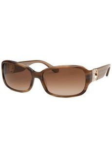 Salvatore Ferragamo Women's Rectangle Striped Brown Horn Sunglasses