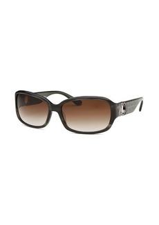 Salvatore Ferragamo Women's Rectangle Striped Dark Grey Sunglasses