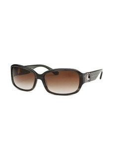 Salvatore Ferragamo Women's Rectangle Striped Dark Grey Sunglasses