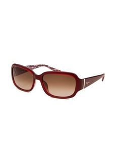 Salvatore Ferragamo Women's Rectangle Translucent Red Sunglasses