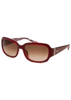 Salvatore Ferragamo Women's Rectangle Translucent Red Sunglasses