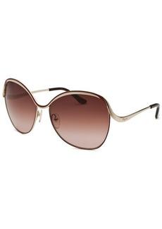 Salvatore Ferragamo Women's Round Gold-Tone and Chestnut Sunglasses
