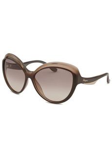 Salvatore Ferragamo Women's Round Gradient Brown Sunglasses