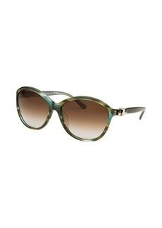 Salvatore Ferragamo Women's Round Striped Green Sunglasses