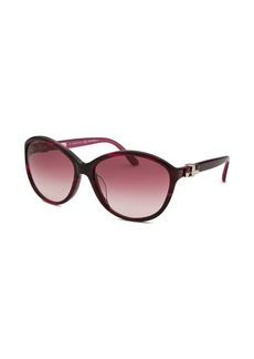 Salvatore Ferragamo Women's Round Striped Purple Sunglasses