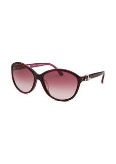 Salvatore Ferragamo Women's Round Striped Purple Sunglasses