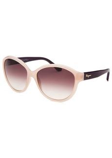Salvatore Ferragamo Women's Round Translucent Light Pink Sunglasses