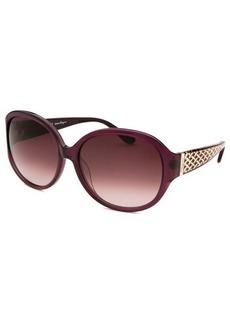 Salvatore Ferragamo Women's Round Translucent Purple Sunglasses