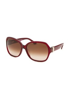 Salvatore Ferragamo Women's Square Dark Red Translucent Sunglasses