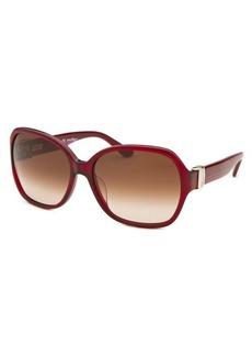 Salvatore Ferragamo Women's Square Dark Red Translucent Sunglasses