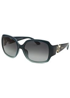 Salvatore Ferragamo Women's Square Dark Teal Sunglasses