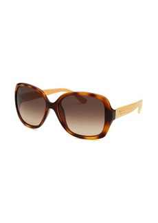 Salvatore Ferragamo Women's Square Havana Sunglasses Brown Lens