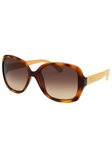 Salvatore Ferragamo Women's Square Havana Sunglasses Brown Lens
