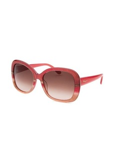 Salvatore Ferragamo Women's Square Pink and Beige Sunglasses