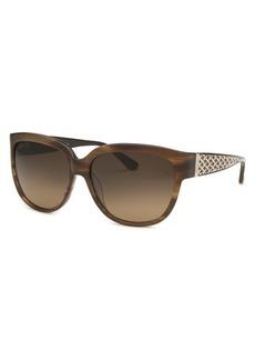 Salvatore Ferragamo Women's Square Striped Brown Sunglasses