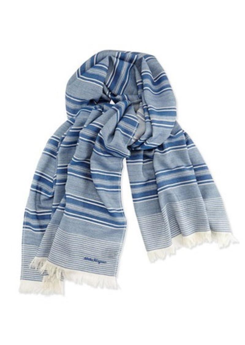 ferragamo salvatore ferragamo wool striped scarf denim
