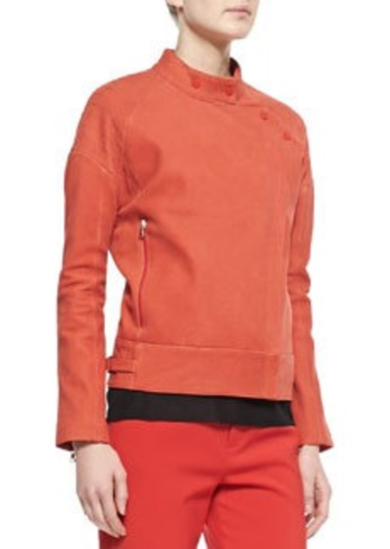Goodall Asymmetric Snap Leather Jacket, Masai Red   Goodall Asymmetric Snap Leather Jacket, Masai Red