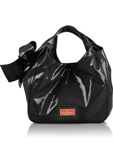 Valentino Bow-embellished patent-leather tote