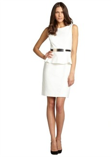 Tahari ASL ivory peplum belted sleeveless dress