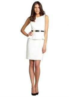 Tahari ASL ivory peplum belted sleeveless dress