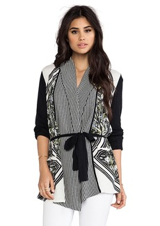 Twelfth Street By Cynthia Vincent Printed Log Cabin Cardigan in Black