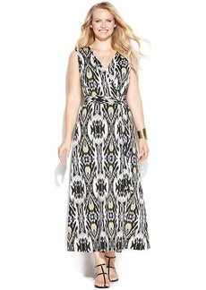 INC International Concepts Plus Size Printed Faux-Wrap Maxi Dress
