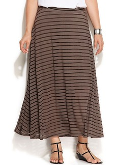 INC International Concepts Plus Size Illusion-Striped Maxi Skirt