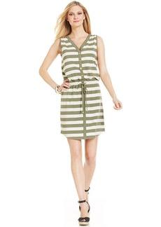 Jones New York Signature Sleeveless Drawstring Striped Dress