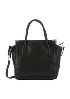Foley + Corinna black leather framed mini convertible shopper tote
