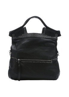 Foley + Corinna black leather studded 'Moto Mid City' convertible tote bag