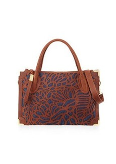 Foley + Corinna Botanica Cutout Leather Satchel Bag, Brandy/Blue