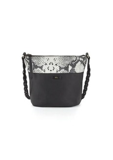 Foley + Corinna Cable Embossed-Trim Leather Bucket Bag
