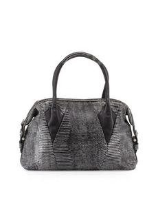 Foley + Corinna Calypso Lizard-Print Leather Satchel Bag
