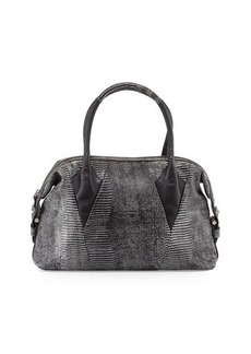 Foley + Corinna Calypso Lizard-Print Leather Satchel Bag
