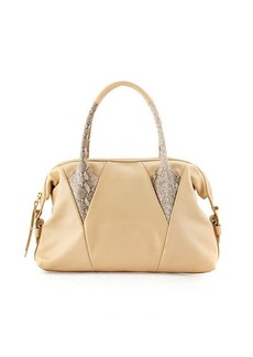 Foley + Corinna Calypso Snake-Print-Trim Leather Satchel Bag