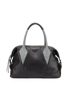 Foley + Corinna Calypso Stingray-Print-Trim Leather Satchel Bag
