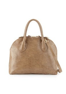 Foley + Corinna Cassis Lizard-Embossed Leather Satchel Bag, Sand