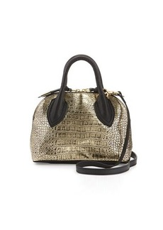Foley + Corinna Cassis Mini Croc-Embossed Leather Satchel Bag