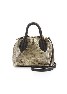 Foley + Corinna Cassis Mini Croc-Embossed Leather Satchel Bag