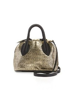 Foley + Corinna Cassis Mini Croc-Embossed Leather Satchel Bag, Gold