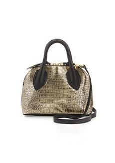 Foley + Corinna Cassis Mini Croc-Embossed Leather Satchel Bag, Gold