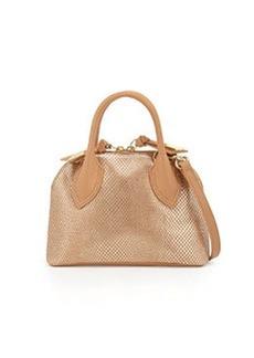 Foley + Corinna Cassis Mini Leather Satchel Bag, Gold Dust