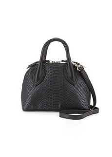 Foley + Corinna Cassis Mini Snake-Embossed Leather Satchel Bag
