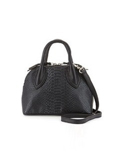Foley + Corinna Cassis Mini Snake-Embossed Leather Satchel Bag, Noir