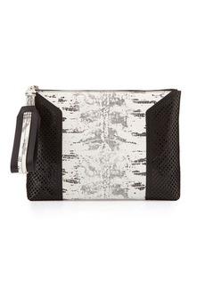 Foley + Corinna Clio Lizard-Print Laser-Cut Leather Clutch Bag