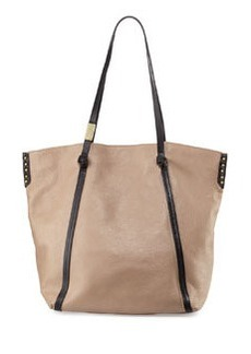 Foley + Corinna Contrast-Trim Leather Tote Bag, Putty/Black