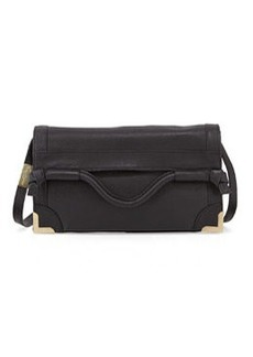 Foley + Corinna Flap Leather Crossbody Bag, Black