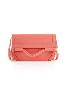 Foley + Corinna Framed Fold-Over Leather Crossbody Bag, Coral