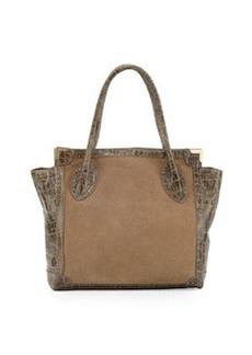 Foley + Corinna Framed Large Suede Shopper Bag, Kale Combo
