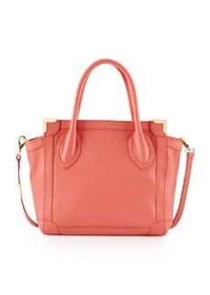 Foley + Corinna Framed Leather Mini Shopper Bag, Coral